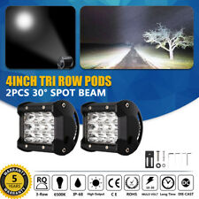 PAIR 4INCH LED PODS TRI ROW SPOT WORK LIGHT BAR Off Road JEEP TRUCK 4X4WD VS 7""