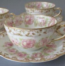 4 Antique HAVILAND Porcelain Cups Saucers Drop PINK ROSES Gilt Trim Schleiger 55