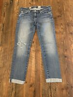 AG Adriano Goldschmied Size 27 R The Stilt Roll Up Jeans Cigarette Distressed