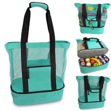 Mesh Beach Tote Bag With Zipper Top Insulated Picnic Cooler Handbag Shoulder Bag