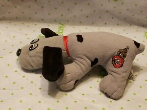 """Vintage 8"""" Stuffed Tonka Pound Puppies Dog Puppy Gray Spots Red Collar Tush Tags"""