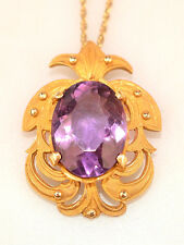 """Amethyst Pendant 19"""" Rope Chain Necklace Vintage 14K Yellow Gold Large 7.5 Carat"""