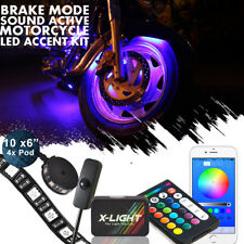 14pc Remote RGB LED Flexible Neon Strip Pod Motorcycle Accent Light Kit Victory