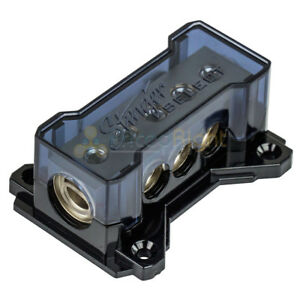 Stinger SSDB2034 Distribution Block (2) 1/0 GA Inputs to (3) 4 GA Outputs Brass