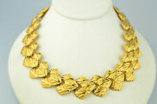 """VINTAGE 1988 NAPIER HEAVY 1 INCH WIDE 17.5"""" LONG NECKLACE WITH STYLIZED LEAVES"""