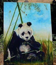 "Panda Bear Original Oil Painting. 30"" X 40"" Signed by Artist. Near Mint."