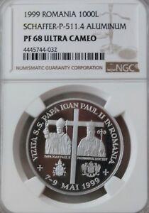 Romania 1000 Lei - Pope John Paul II - Aluminium 1999 - only 600 pcs - NGC PF68