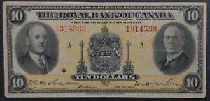 RARE 1935 Canada Royal Bank $10 Banknote P S1392 F