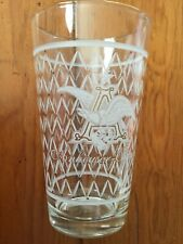 Anheuser Busch Beer Drinking Glass Etched Logo Diamond Pattern Gold Trim 12oz