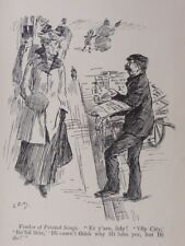 London & Cockney Life STREET SELLER VENDOR OF PIRATED SONG Antique Punch Cartoon