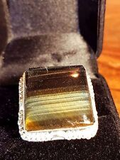 black striped agate gemstone 925 silver filled ring big stone 20 mm size 9 us