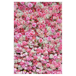 Pink Rose Flower Wall Backdrop Wedding Birthday Party Photo Background 3*5ft