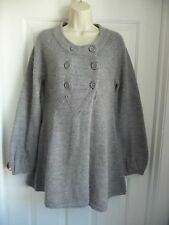 FRENCH CONNECTION M Sweater Coat Cardigan Grey Alpaca Wool Double-Breasted WARM