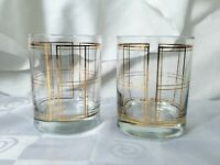 Georges Briard Golden Plaid Double Old Fashioned Glasses Set of 2
