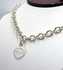 8aad4b64b 18 inches Please Return To Tiffany & Co Sterling Silver Heart Tag Necklace