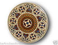 "24"" Marble Coffee Table Top Onyx Marquetry Gemstone Archaic Inlay Art Decor H642"