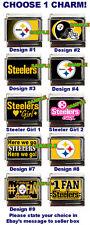 Pittsburgh Steelers Custom Italian Charm! Steeler Girl, #1 Fan Plate, Here We Go