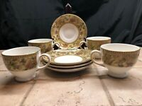 8 Pc Set Of Wedgwood Bone China Floral Tapestry (4 Teacups And 4 Saucers)