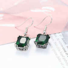 Druopean Design Woman Emerald Fire Topaz Gemstone Silver Dangle Hook Earrings