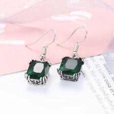 Classical Vintage Silver Emerald Fire Topaz Gemstone Dangle Hook Earrings