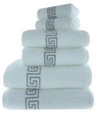LUXURY 100% COTTON GREEK KEY EMBROIDERED BATH TOWEL 3 PIECE GIFT BALE SET
