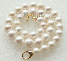 "18"" 14mm natural round white freshwater pearls necklace filled gold clasp j9417"