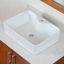ELITE Bathroom Whtie Square Porcelain Ceramic Vessel Sink