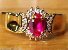 SALE!!! NEW GOLD PLATED FAUX RUBY & DIAMOND ZIRCONIA RING SIZE J N P R S   #4050