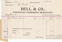 U.S. BELL & Co. Portland O. Jun 1905 Wholesale Comm Merchants Invoice Ref 42767