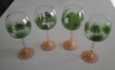 LOT OF 4 GLASS FLORIDA/TROPICAL PALM TREE WINE/WATER/DRINK GOBLETS