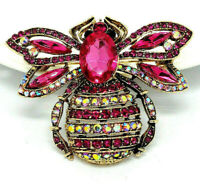 BIG 3D Pink BUMBLE BEE AB Rhinestone Retro Vintage Style Necklace Pendant Brooch
