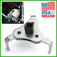 Oil Filter Wrench Auto Adjustable Universal 3 Jaw Remover Socket 1/2 & 3/8 Drive