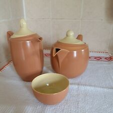 More details for branksome china orange/cream two tone teapot water jug and sugar bowl