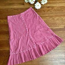 Anthro Odille Skirt 2 Rose Mauve Pink Feminine MIDI Ruffle Flirty