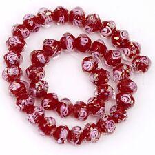 weiß Rose rot Lampwork Glas Perlen 8x10mm f. Halskette Armkette Armband DIY
