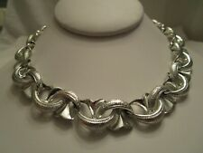 Tone Link Necklace Vintage Signed Coro Silver