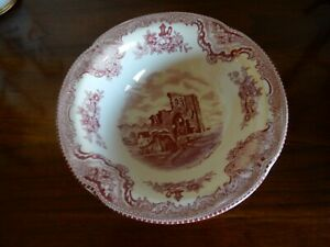 "Johnson Bros  Pink Red small  6"" bowl English Castles Denirgh Castle Wales  NEW!"