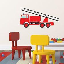 PERSONALISED FIRE ENGINE KIDS BEDROOM PLAYROOM WALL STICKER ART VINYL MURAL
