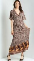 NWT Angie Brown Floral V-Neck Flutter Sleeve Maxi Dress Boho Fall Summer S/M/L