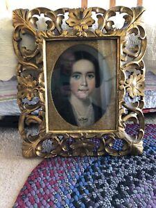 BEAUTIFUL PORTRAIT OF A WOMAN   PASTEL   ANTIQUE GOLD LEAF FRAME