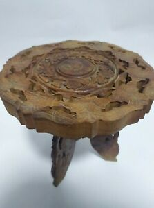 Antique Vintage Syrian Inlaid Wood Table With Folding Base