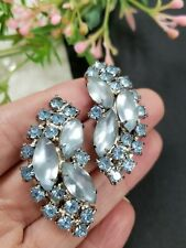 "Estate Vintage Blue Frosted Glass Rhinestones Silver Tone Earrings Clip On 1.5""T"