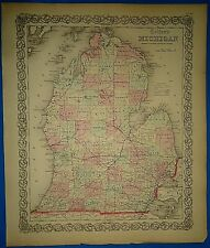 Antique 1862 Colton Atlas Map ~ MICHIGAN ~ Old & Original ~ Free S&H
