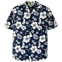 500-6849 Blue Hawaiian Classic Shirt Tropical Island Flowers Hibiscus Plumeria