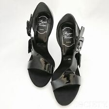 ROGER VIVIER Black Patent Leather Stiletto Heeled Buckle Sandal Heels-SIZE 38