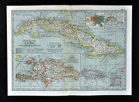 1902 Century Map West Indies Caribbean Cuba Bahamas Jamaica Porto Rico Antilles