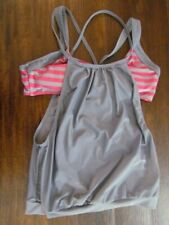 Womens Tankini Exercise Size L Pink Light Gray Swimsuit Swimwear Activewear Tank