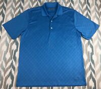 Greg Norman Men's Short Sleeve Polo Button Front Golf Shirt Blue Size L Large
