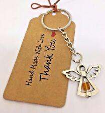 November Birthstone Topaz Guardian Angel Keyring lucky charm keepsake gift biker