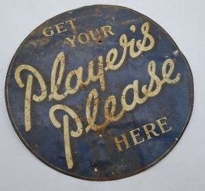 Vintage Get Your Players Please Here Advertising Tin Sign - 100% Genuine